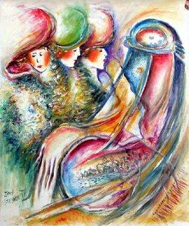 Women Time 25x19 Original Painting - Zamy Steynovitz