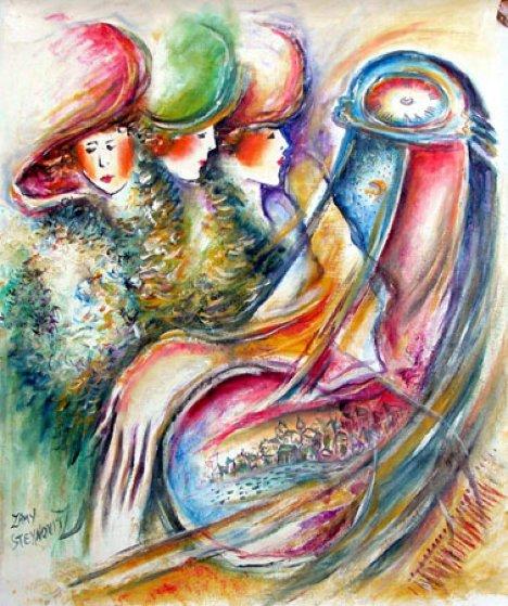 Women Time 25x19 Original Painting by Zamy Steynovitz