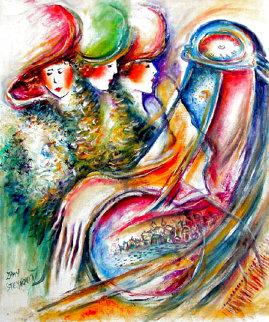 Women Time 1979 24x19 HS Original Painting - Zamy Steynovitz