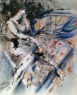 Untitled Painting 32x29 Original Painting by Zamy Steynovitz