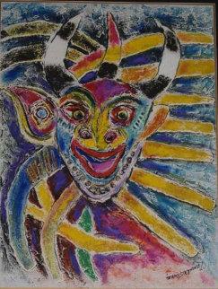 Untitled (mask) Painting 1974 29x19 Original Painting - Zamy Steynovitz