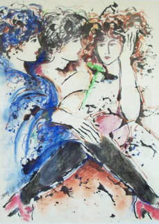 Three Women Together 1985 33x27 Original Painting - Zamy Steynovitz