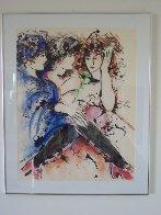 Three Women Together 1985 33x27 HS Original Painting by Zamy Steynovitz - 1