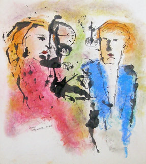 Untitled Man and Woman Painting 1973 32x28 Original Painting by Zamy Steynovitz