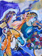 Untitled Musicians with Violin, Flute, and Drum 13x10 HS Original Painting by Zamy Steynovitz - 0