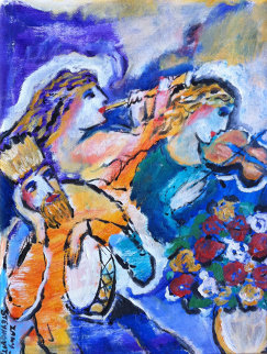 Untitled Musicians with Violin, Flute, and Drum 13x10 HS Original Painting - Zamy Steynovitz