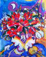 Untitled Flowers with Violin, Flute, Eiffel Tower 13x11 Original Painting by Zamy Steynovitz - 0