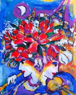 Untitled Flowers with Violin, Flute, Eiffel Tower 13x11 Original Painting - Zamy Steynovitz