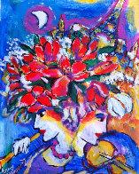 Untitled Flowers with Violin, Flute, Eiffel Tower 13x11 Original Painting by Zamy Steynovitz - 1