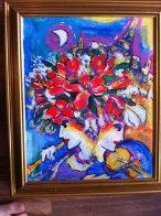 Untitled Flowers with Violin, Flute, Eiffel Tower 13x11 Original Painting by Zamy Steynovitz - 2