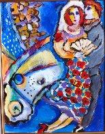 Untitled Couple Painting 14x11 HS Original Painting by Zamy Steynovitz - 1