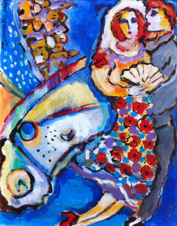 Untitled Couple Painting 14x11 Original Painting by Zamy Steynovitz