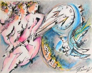 Chasing Peaceful Time Watercolor 1975 34x29 HS  Watercolor - Zamy Steynovitz