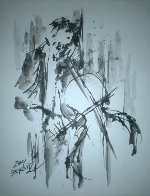 Cellist Watercolor 17x14 HS Watercolor by Zamy Steynovitz - 0
