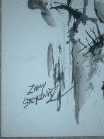 Cellist Watercolor 17x14 HS Watercolor by Zamy Steynovitz - 1