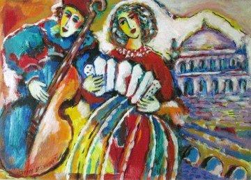 Musicians Near An Aqueduct 29x22 Original Painting - Zamy Steynovitz