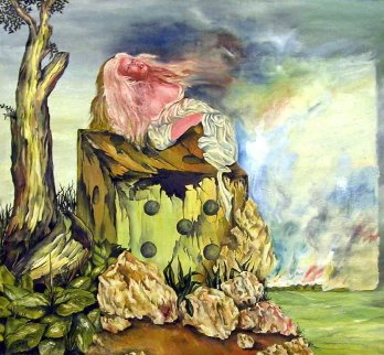 Girl on Dice 1970 42x40 Original Painting - Zamy Steynovitz