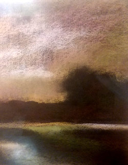 Untitled Landscape 1990 17x17 Original Painting - Helen Zarin