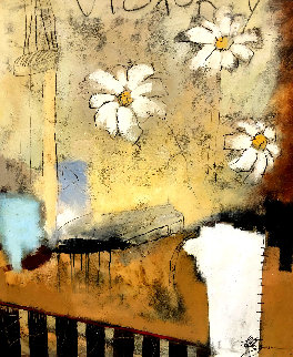 Vase and Two Flowers 40x34 Original Painting - Helen Zarin