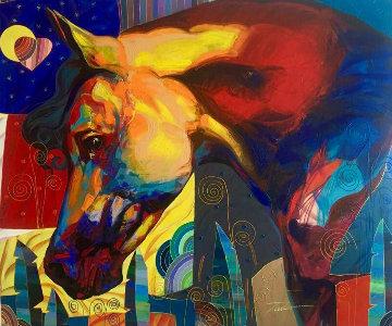 Azabache 2014 47x55 Huge Original Painting - Tadeo Zavaleta