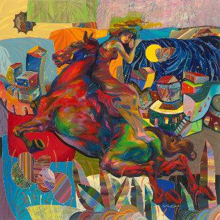 Montando La Ciudad 2017 60x60 Original Painting - Tadeo Zavaleta