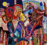 Esta Noche 2013 50x50 Original Painting - Tadeo Zavaleta