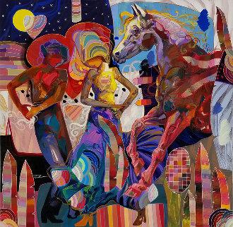 Esta Noche 2013 50x50 Huge Original Painting - Tadeo Zavaleta
