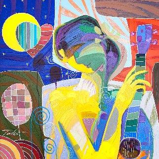 Oyendo La Luna 27x27 Original Painting - Tadeo Zavaleta