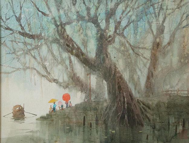 Water Taxi: Orange Parasol Watercolor 1980 32x37 Watercolor by Xiang-Ming Zeng