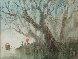 Water Taxi: Orange Parasol Watercolor 1980 32x37 Watercolor by Xiang-Ming Zeng - 0