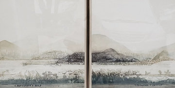 Fields I and II, Dyptych -  Set of 2 Etchings 60x46 Limited Edition Print - Renata Zerner