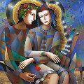 Friendly Meeting 2016 50x50 Original Painting - Oleg Zhivetin