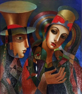 Untitled Painting 2016 25x23 Original Painting by Oleg Zhivetin