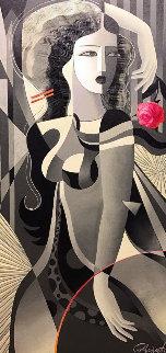 Red Rose 48x24 Original Painting by Oleg Zhivetin