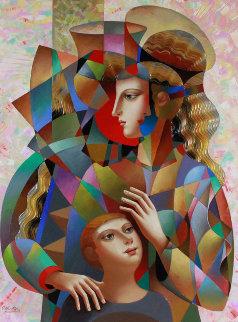 Happy Family 2016 39x49 Original Painting - Oleg Zhivetin
