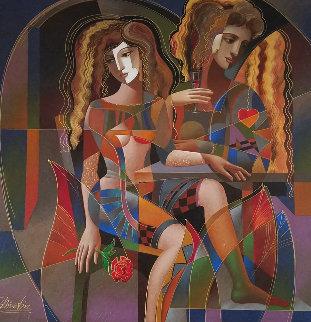 Untitled Painting 2000 48x48 Original Painting - Oleg Zhivetin