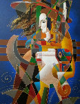 Untitled Painting 2000 48x36 Original Painting - Oleg Zhivetin