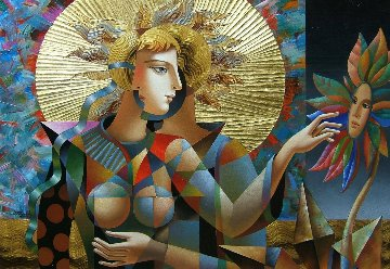 Three As One 2018 32x44 Original Painting by Oleg Zhivetin