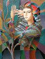 Gaze 2018 40x30 Original Painting - Oleg Zhivetin