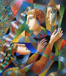 Three Faces 2018 35x30 Original Painting - Oleg Zhivetin