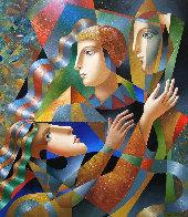 Three Faces 2018 35x30 Original Painting by Oleg Zhivetin - 0