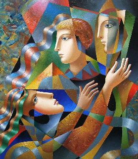 Three Faces 2018 35x30 Original Painting by Oleg Zhivetin