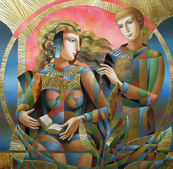 Their Book 2018 48x48 Original Painting by Oleg Zhivetin