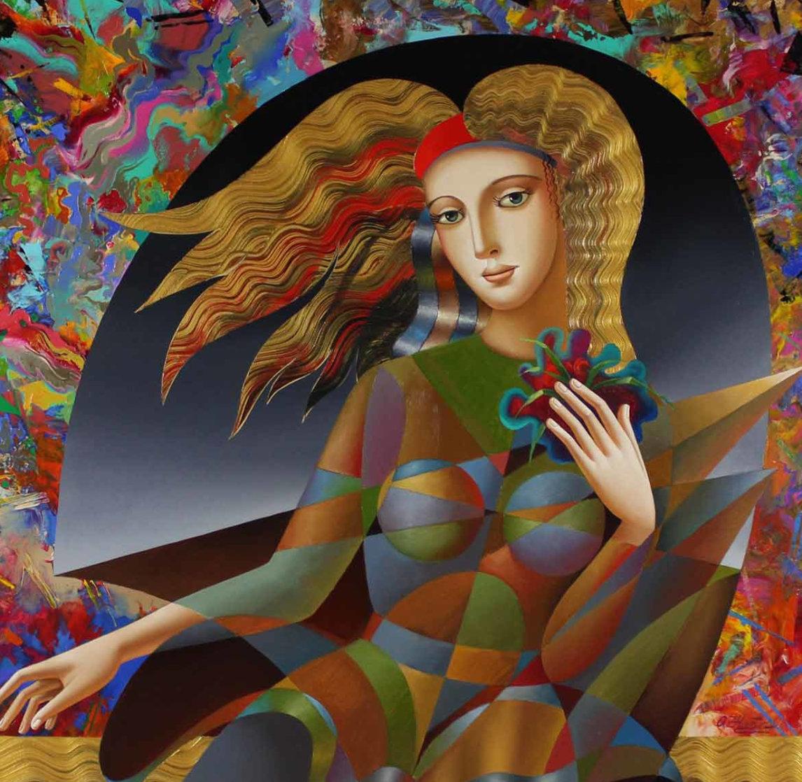 Flower Child 43x43 Super Huge Original Painting by Oleg Zhivetin
