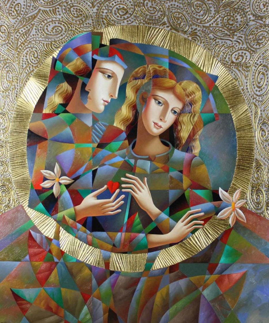 Two Flowers 52x62 Super Huge Original Painting by Oleg Zhivetin