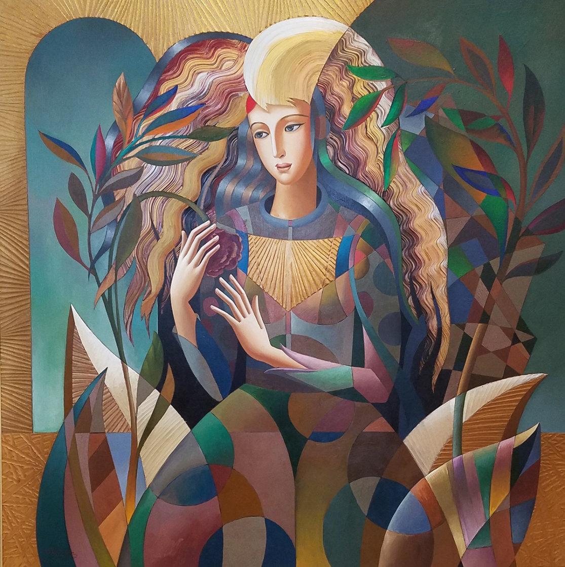 Delicate Flower 52x52 Super Huge Original Painting by Oleg Zhivetin