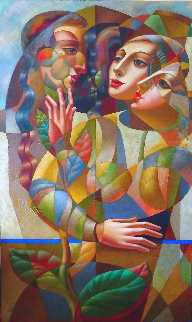 Gentle Touch 1999 80x48 Super Huge  Original Painting - Oleg Zhivetin