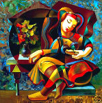 Poem Reader 1999 Limited Edition Print - Oleg Zhivetin
