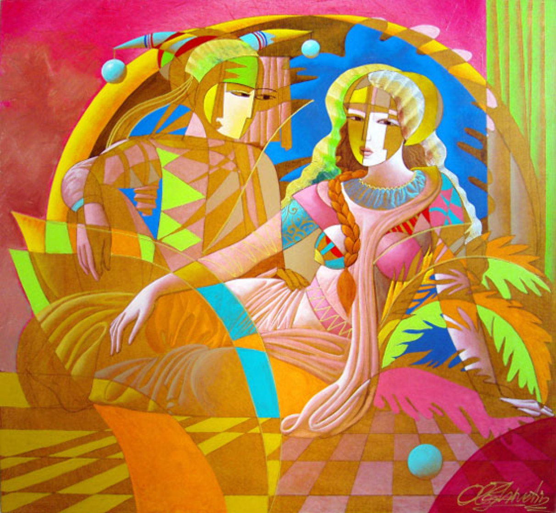Tranquil Love 52x48 Super Huge Original Painting by Oleg Zhivetin