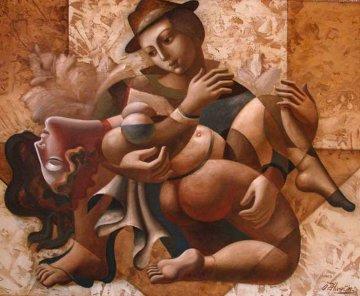 Embrace Thee 2003 59x71  Huge  Original Painting - Oleg Zhivetin
